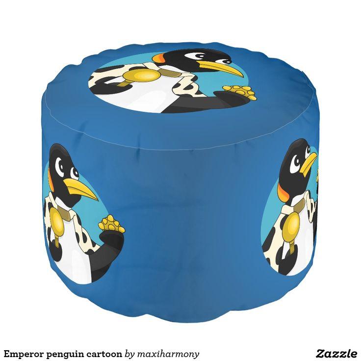 Emperor penguin cartoon round pouf