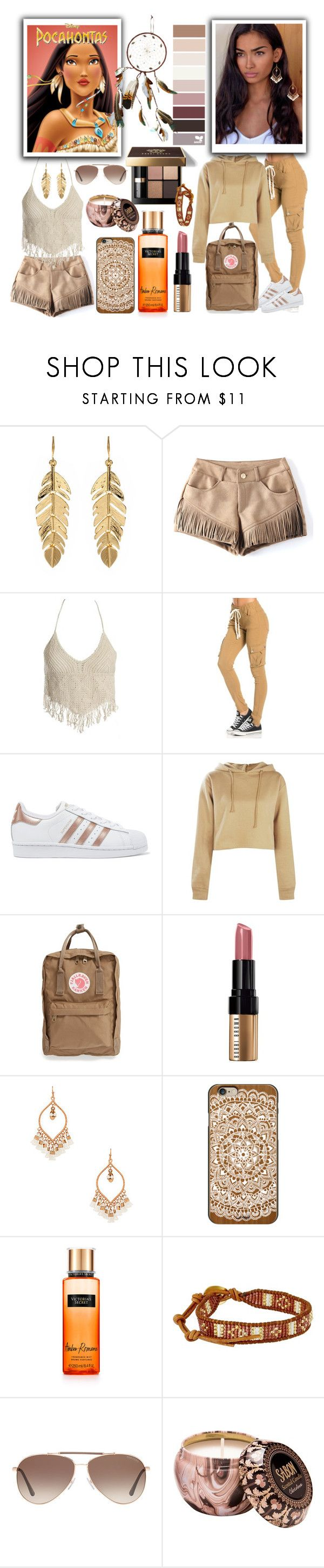 """2 different outfits pocahontas could wear 😍💭"" by anoo17k ❤ liked on Polyvore featuring Disney, Amrita Singh, Sans Souci, adidas Originals, Bobbi Brown Cosmetics, Boohoo, Fjällräven, Shashi, Casetify and Victoria's Secret"
