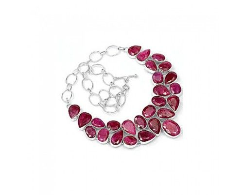Genuine 925 sterling silver Indian Ruby Gemstone Cluster  Necklace #women,  #sterling silver jewelry