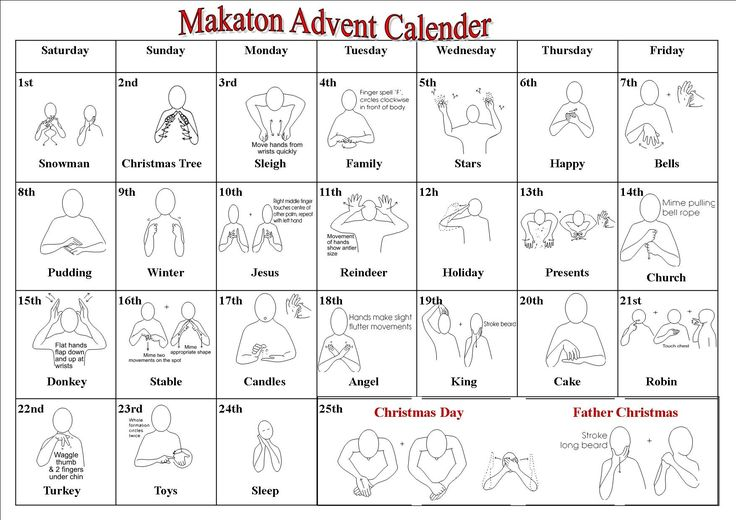 Makaton signs for Christmas - one for every day of advent. Share with the whole school in assemblies.