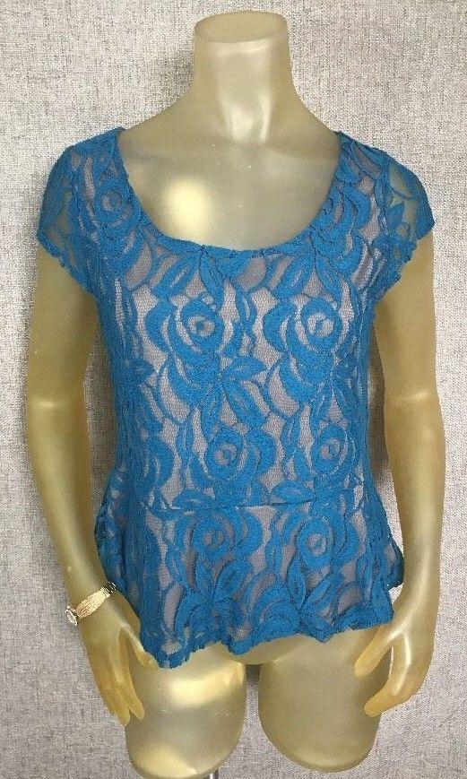 CHARLOTTE RUSSE Peplum Shirt Top Blouse Blue Lace Lined Women's Sz L 10 12 14 #CharlotteRusse #Peplum #Career
