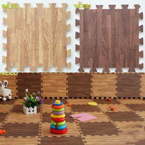 30*30cm Imitation Wood Foam Exercise Floor Mats Gym Garage Kids Play Mats