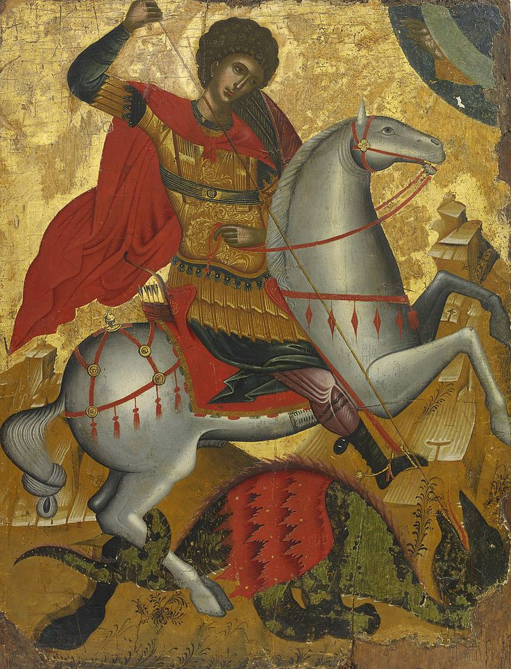 Detailed view: PP026. Saint George and the Dragon- exhibited at the Temple Gallery, specialists in Russian icons