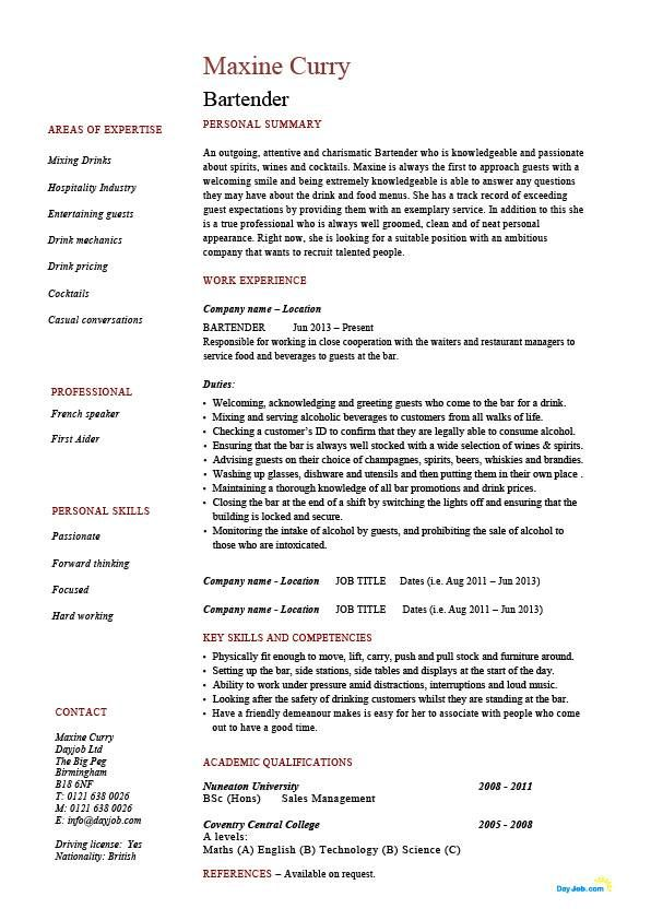 Image result for bartending resume