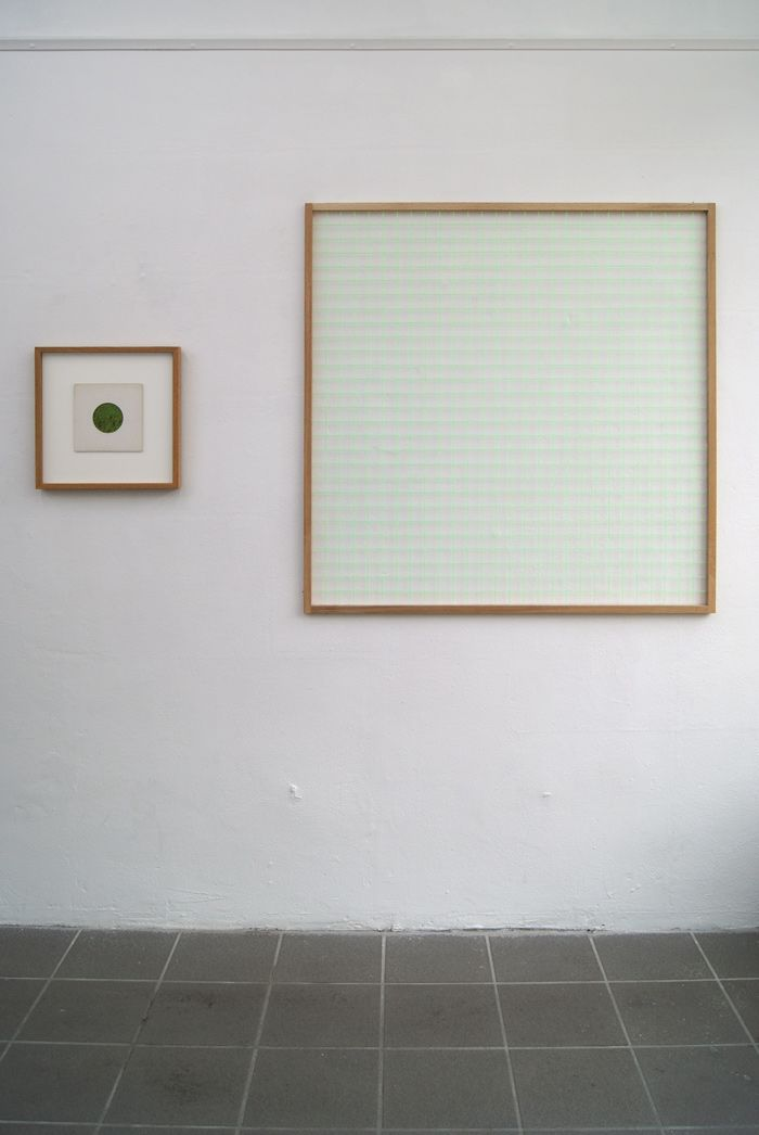 Johan Øvergård Portal (Dürer Grid) Oak and neon bricklayer's string, 112 x 112 x 2,1 cm, 2014