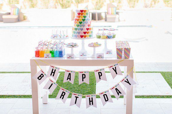 Rainbow Display | A Sweet Rainbow-Heart Birthday Party | POPSUGAR Moms