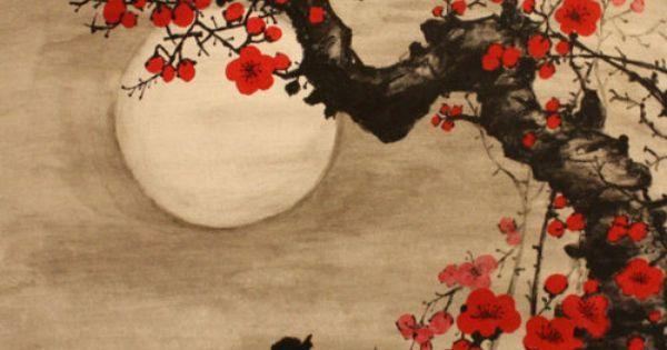Moonlight on the flowers.  Vintage Japanese Shikishi Art   Tattoo   Pinterest   Japanische Malerei, Japanische und Zeichen