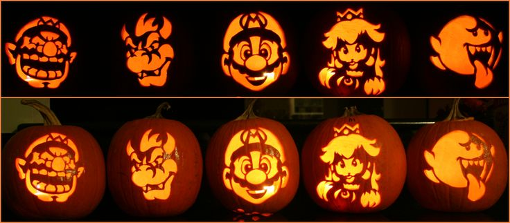 Video Game Pumpkin Carvings: Super Mario Brothers Group