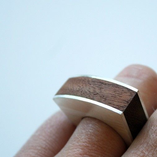 wooden ring wood and silver ring rugged statement ring knock on wood chunky sterling top heavy ring. $84.00, via Etsy.