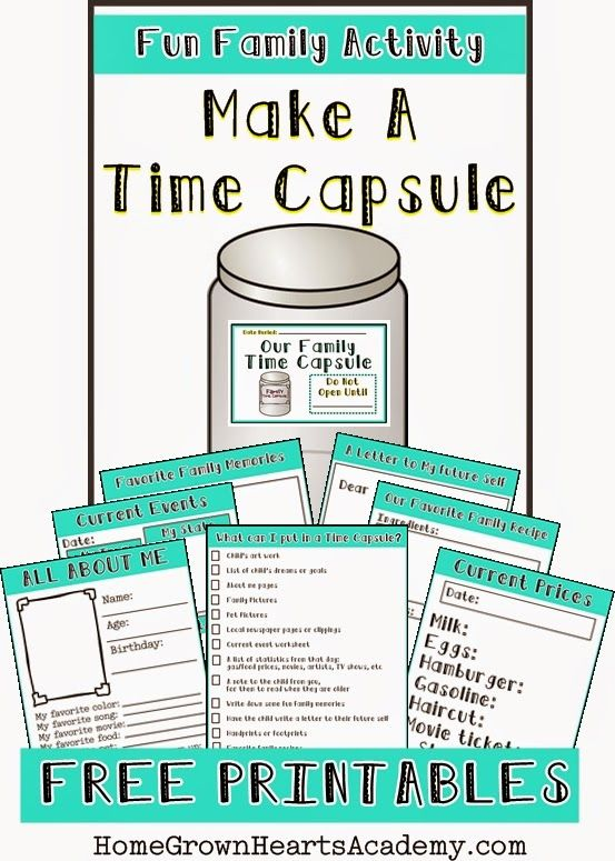 Fun Family Activity: Make a Time Capsule. Free Printables https://homegrownheartsacademy.blogspot.com/2015/01/make-time-capsule.html