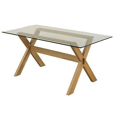 Buy John Lewis Gene 6 Seater Rectangular Dining Table, Glass Online at johnlewis.com