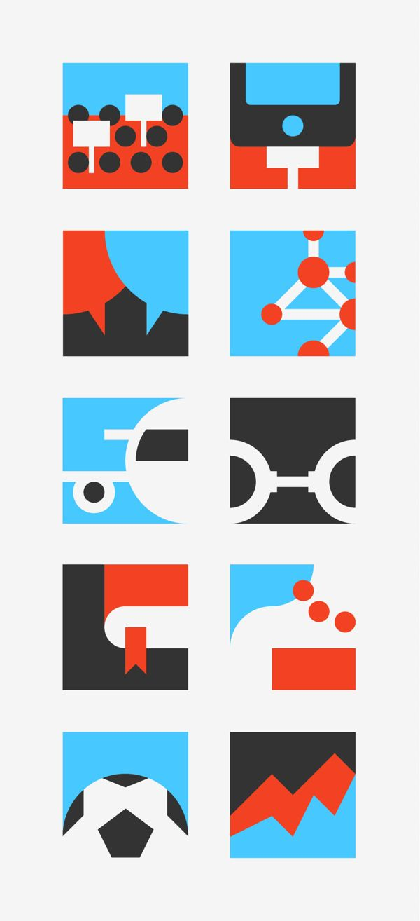 PITCH ME — ICONS by Forma and Co , via Behance A great example of the power of cropping! Use of negative space and what you can do with 2 colours (white doesn't count!)