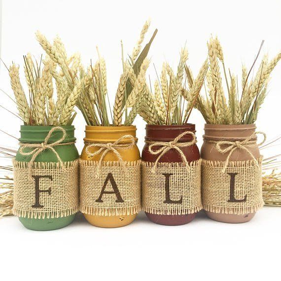 17 Shabby Chic Handmade Fall Mason Jar Decor Ideas For The Home