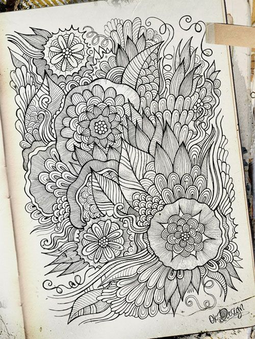 Intricate Hand-Drawn Flowers Direct from Olka's Sketchbooks