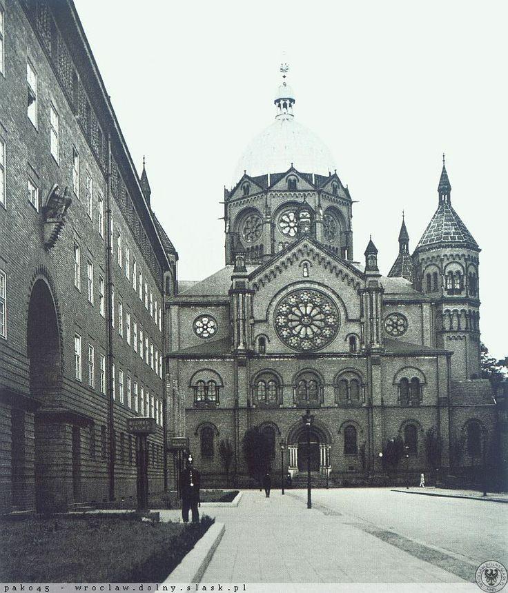 """1929 , Synagoga """" Na Wygonie"""", widok wzdłuż ul. Druckiego-Lubeckiego"""