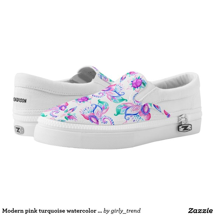 Modern pink turquoise watercolor floral paisley printed shoes