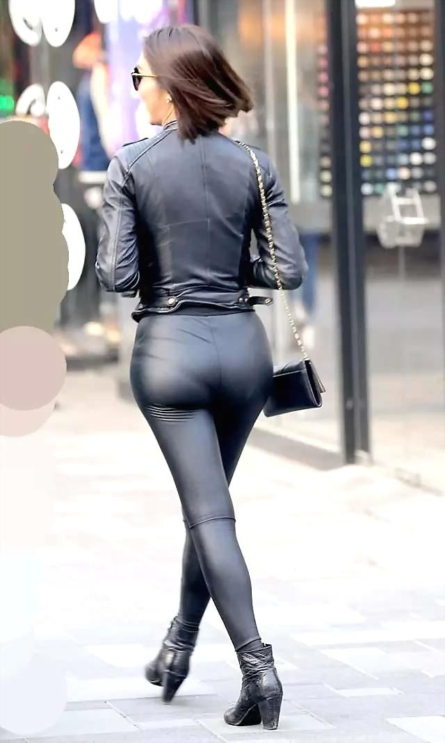345588b5422 Candid amateur street style black leather jacket leather leggings bottom  ankle boots