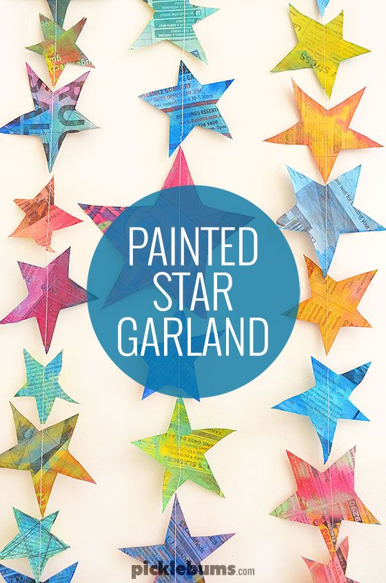 Recycle some old newspaper and make this simple painted star garland.