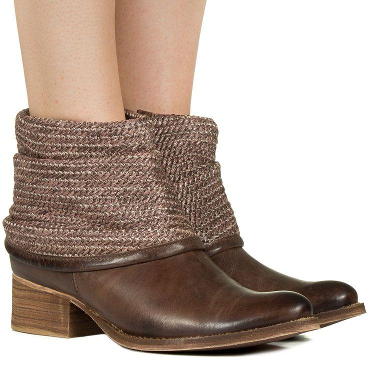 Bota marrom polaina trançada Taquilla - Taquilla: Calçados femininos online