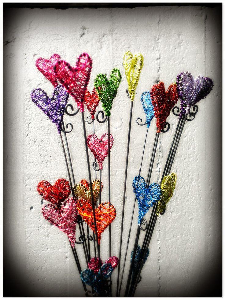 Krokpärla Luffarslöjd: Trasselhjärtan som halsband eller som dekoration i blomkrukan