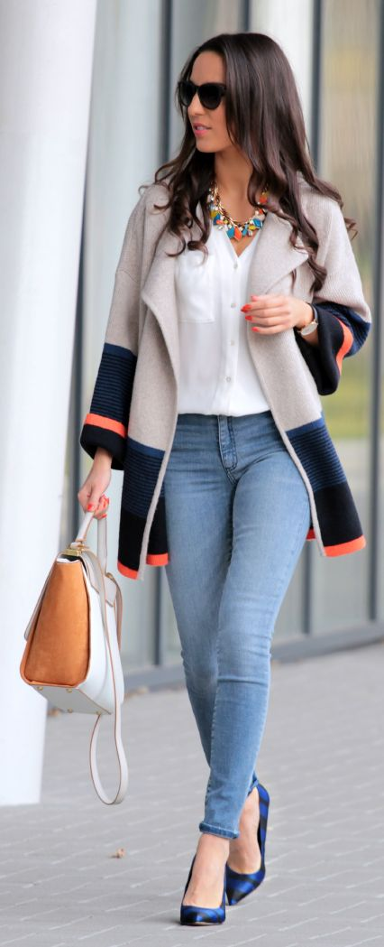 Colorblock Sweater Coat Outfit Idea by Styleandblog.com