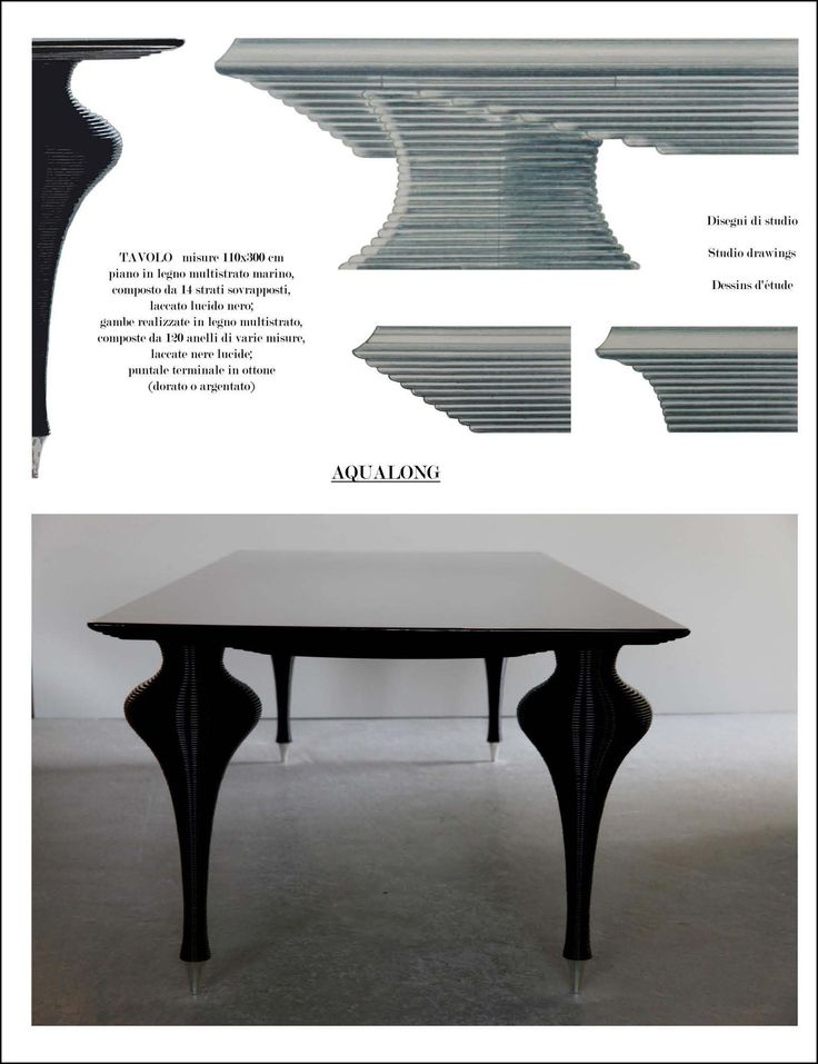 Table Aqualong Table measures 110 x 300 cm  top made with 14 layers of marine plywood glossy black lacquer;  legs made of plywood, composed of 120 rings of different sizes, glossy black lacquer;  terminal tip of brass (gold or silver color).