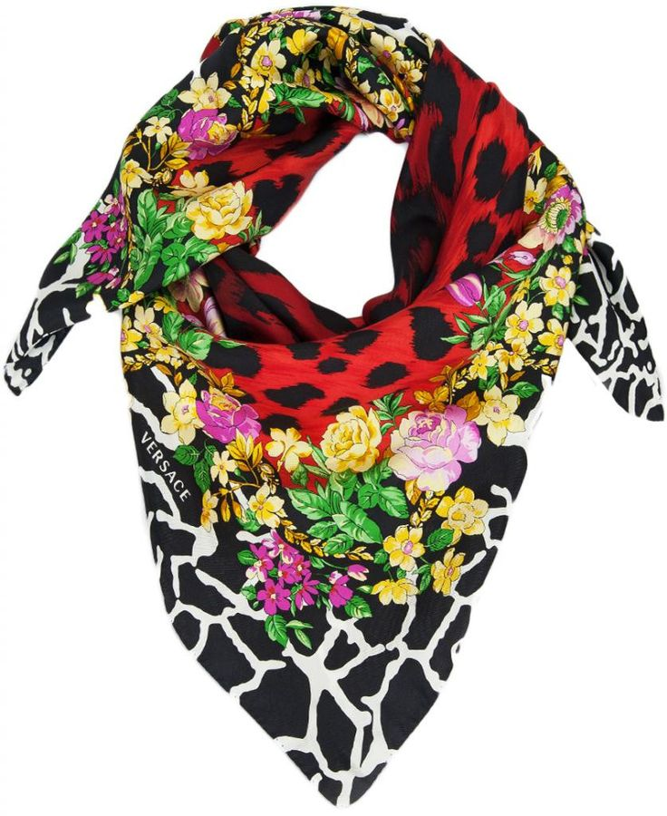 Versace Red Floral Safari 100% Silk Scarf