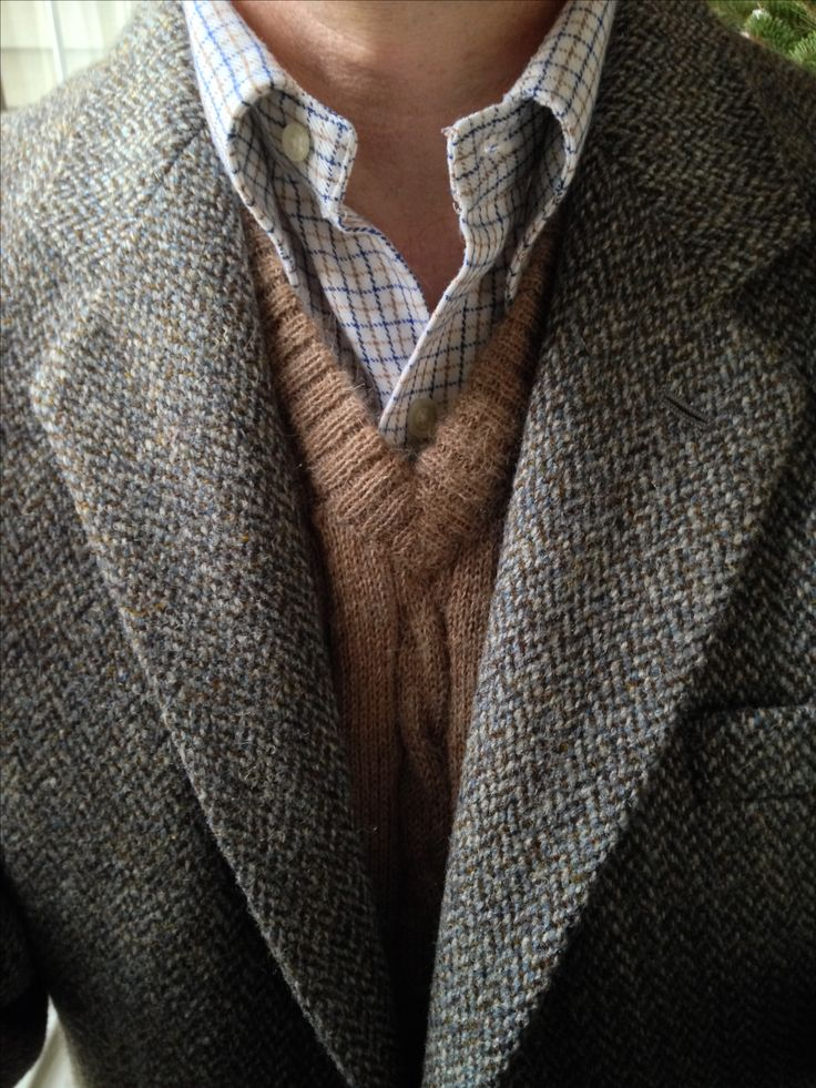 Dunn & Co. Harris Tweed, vintage Gant cotton flannel tattersall, Carl Sterr Peruvian Alpaca sweater vest.