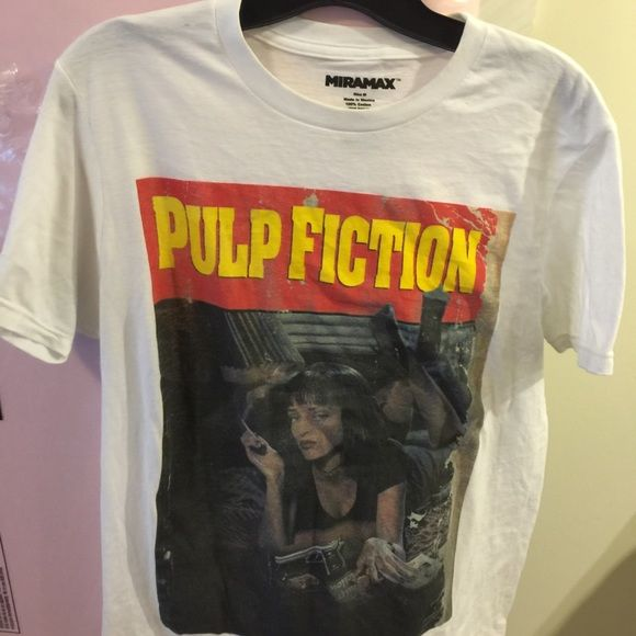 Pulp Fiction Tshirt cool tee to own! Shirt is short sleeves worn twice and washed twice. Shirt has Pulp Fuction logo with Uma Thurman. Cute shirt to wear with any jeans ! Pulp Fiction Tops Tees - Short Sleeve