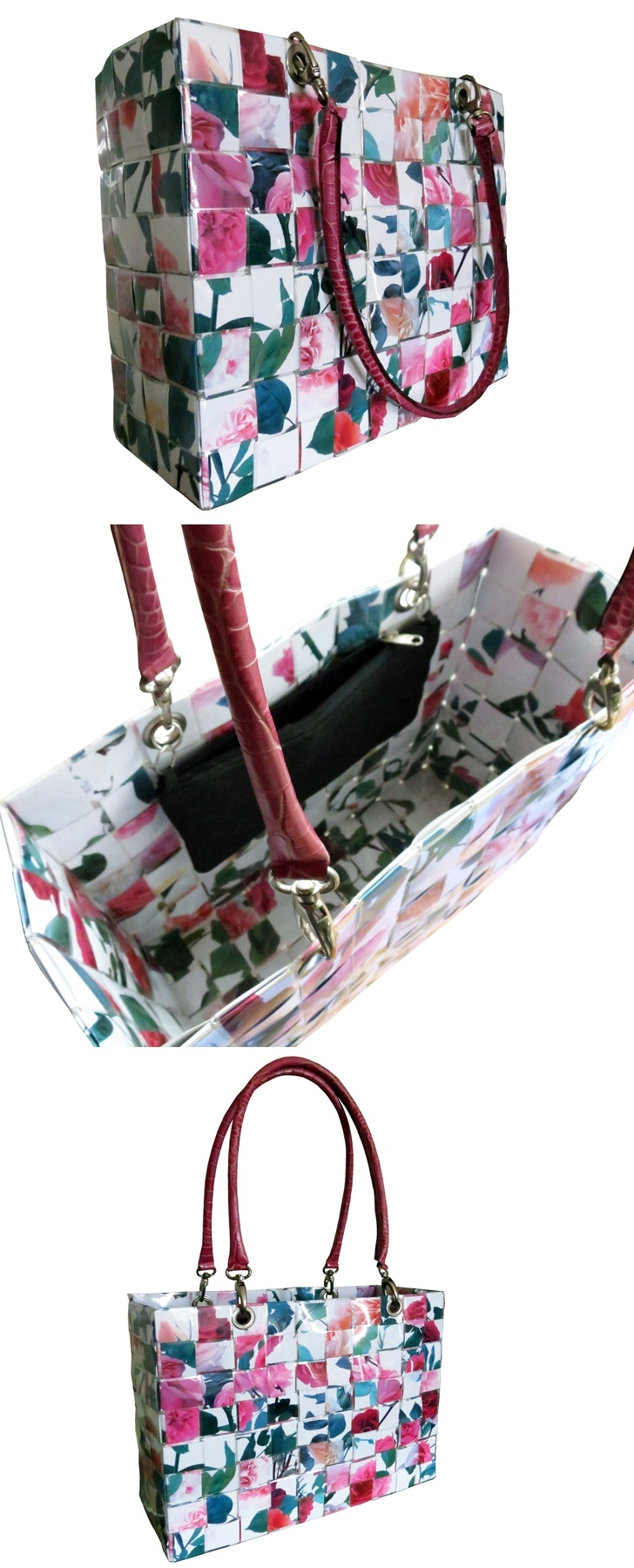 Borsa shopper creata con immagini di rose // Shopper bag created with rose pictures by CeeBee-recycle via it.dawanda.com #upcycling