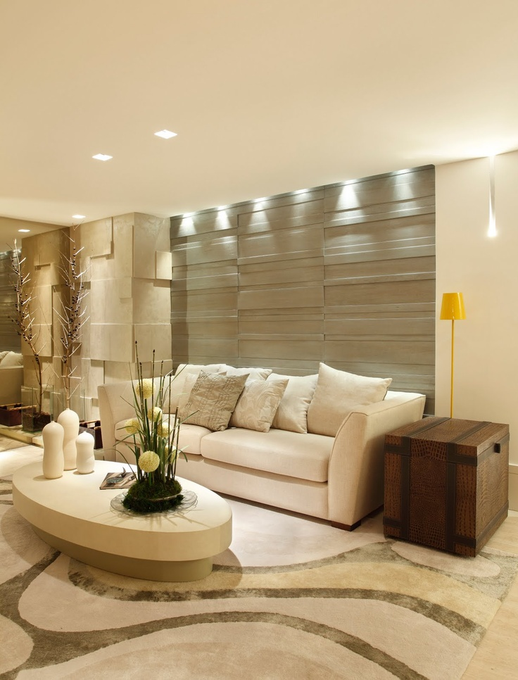 sala estar - papel parede - iluminacao - tapete