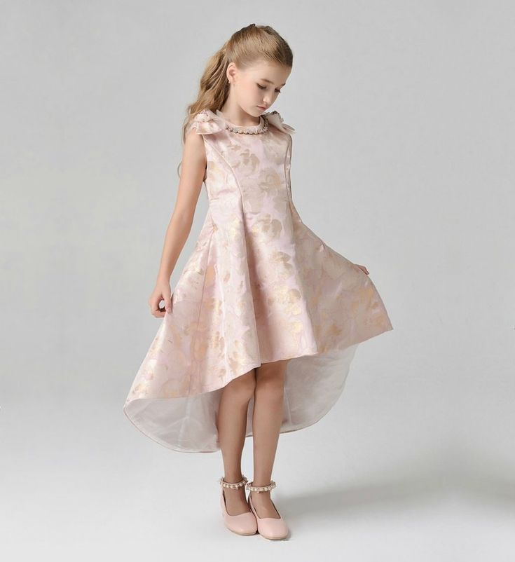 Bow Shoulder High Low Gown-Made To Order - High Quality Gold Flower Embroidery Allow Diamond Round Neckline Sleeveless Knee - Ankle Length Infant Toddler Little & Big Girl Bow Shoulder High Low Dress Available from 12 months until 12 years. Material: Silk jacquard & cotton. Color: Light pink & gold. Please do compare your  little girl measurements with our size chart below before deciding her size.