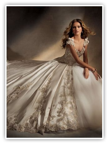 Available at StarDust Celebrations in Dallas, Texas. Grandeur...elegance...opulence...Eve of Milady wedding  gowns are best known for their amazing ball gowns and gorgeously detailed  bodices. The couture line has received the prestigious  Designer of the Year award from both well-known bridal magazines, Bride and Modern Bride.