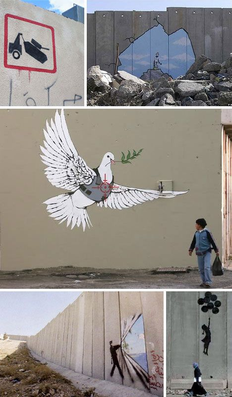 Banksy Art and Graffiti in Palestine    One of Banksy's most famous trips took him to the border wall in Palestine – a central and association-loaded symbol in the heart of a complicated place. His themes while there revolved mostly around war mixed with peace, but he also created some lighter and brighter works that showed possibility, potential and hope beyond the dividing wall.