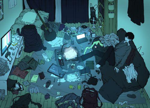 部屋のアニメ。Anime Room. Boy ♡