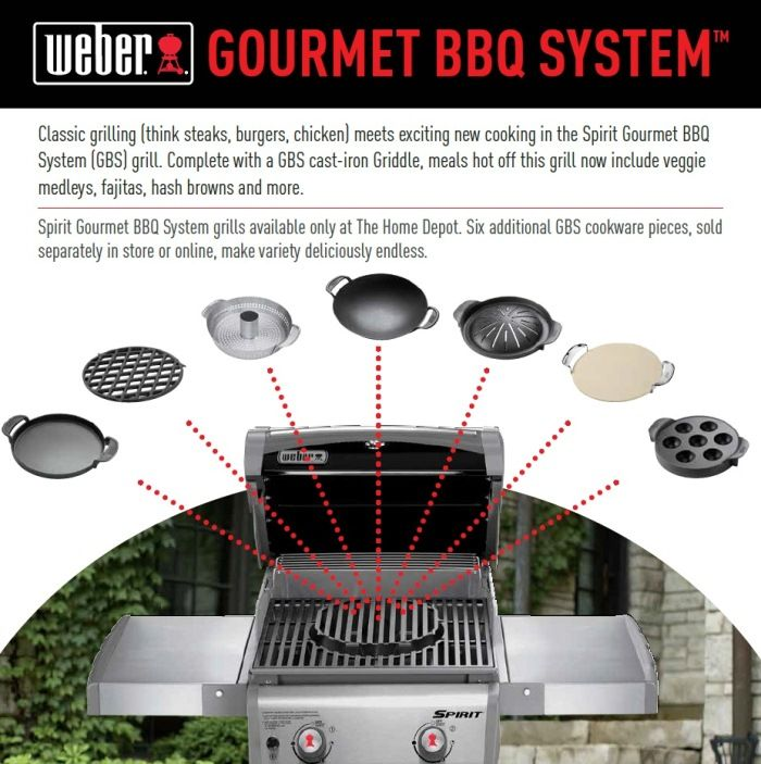 Weber Spirit E-310 3-Burner Natural Gas Grill (Featuring the Gourmet BBQ System)-47513101 at The Home Depot.  It has several options for great dining.