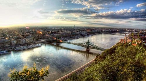 The Liberty Bridge and the Danube River in Budapest, Hungary.