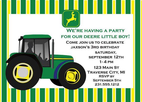 John Deere Tractor Birthday Invitation In 2019 Birthday