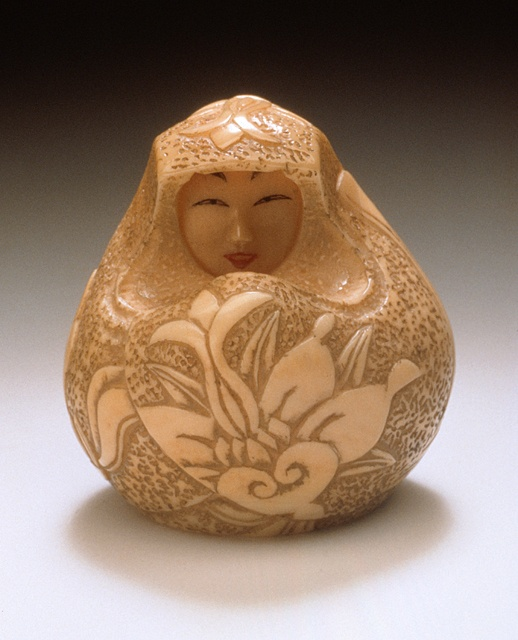 Japan  Female Daruma Doll, 18th century, 20th-century additions  Netsuke, Ivory with sumi, red pigment,