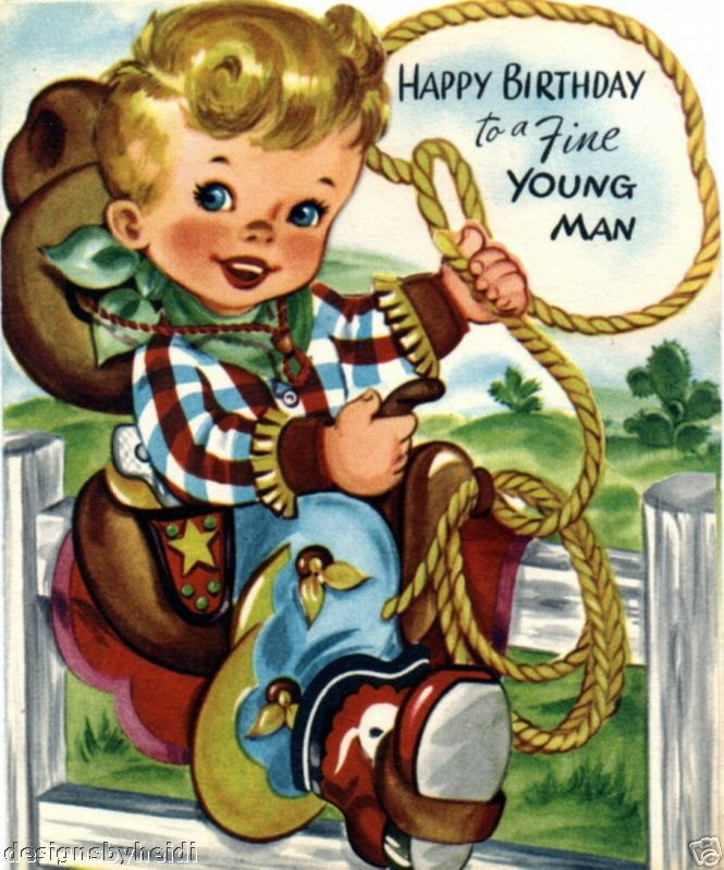 Vintage Magnet Happy Birthday Cowboy Kids V25