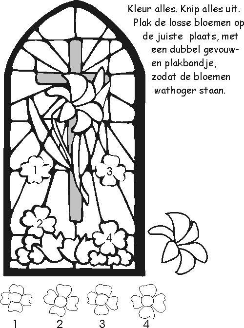 knutselwerkje raam met bloemen pasen christelijke