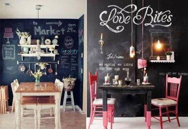 Грифельная доска на кухне в стиле кафе (фото)
