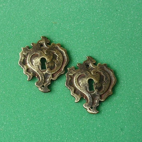 Ornate Vintage Brass Keyhole Key Hole Cover Covers by timepassages
