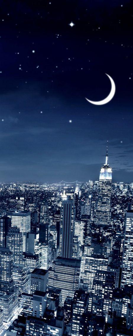 Moon over New York City, USA