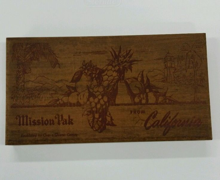 Vintage Redwood Wooden Box Mission Packing Company Fruit and Nut Wood Container