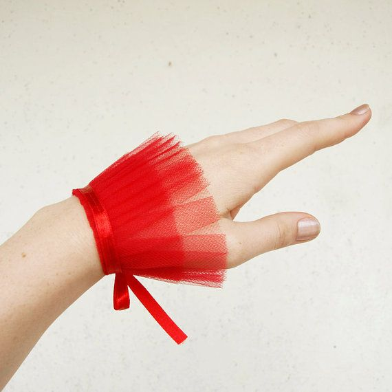 Red tulle cuff lovely for an editorial