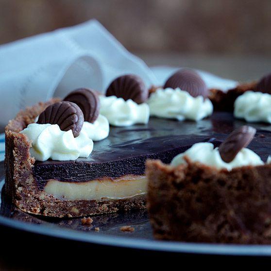 Karamel- og chokoladetærte (Recipe in Danish)
