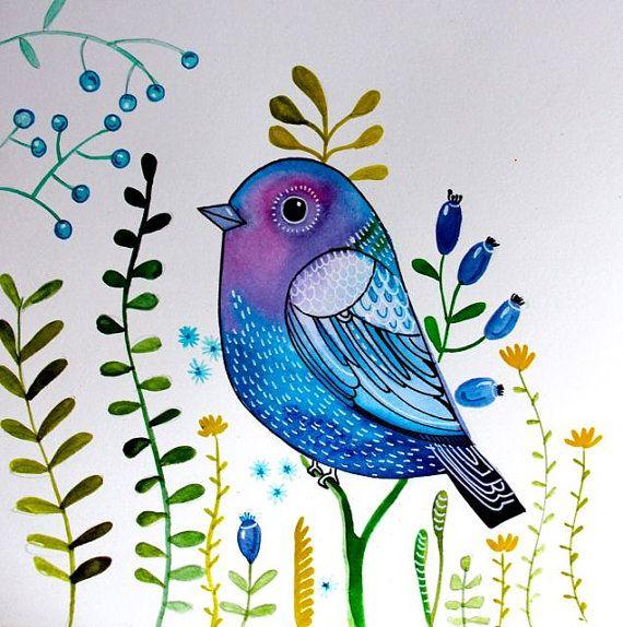 Blue sparrow, fantasy bird, wall art, nursery decor, blue purple tones on Etsy, $24.99