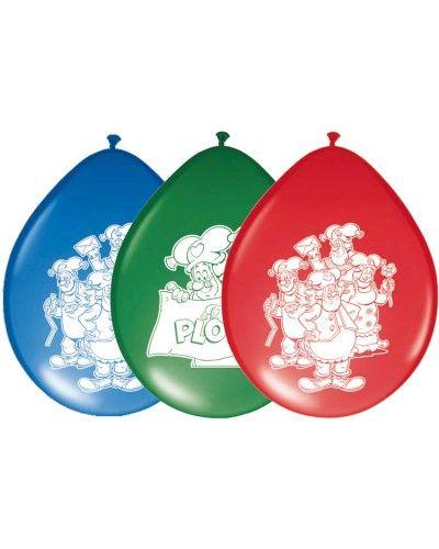 Kabouter Plop ballonnen in de kleuren blauw, groen en rood. Bedrukt met figuren uit het kinderprogramma Kabouter Plop.
