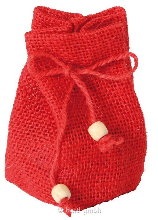 Jutesäckchen mit Boden, klein rot, Säckchen aus gefärbter Jute mit eingenähtem runden Boden und Zugbändern | 110620 / EAN:4032821021922
